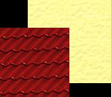 Czerwony dach w polaczeniu z jasnymi, cieplymi kolorami elewacji